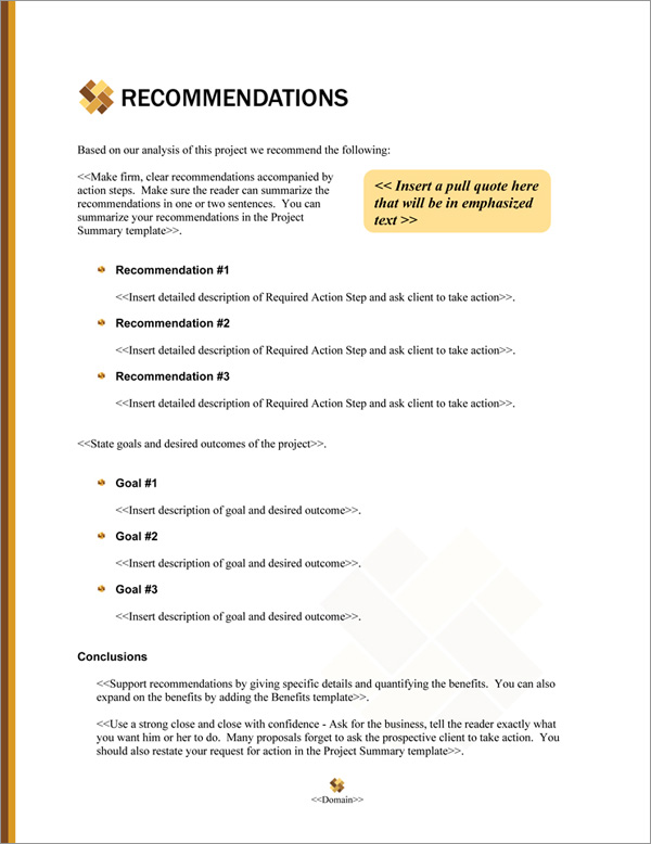 Proposal Pack Contemporary #20 Recommendations Page