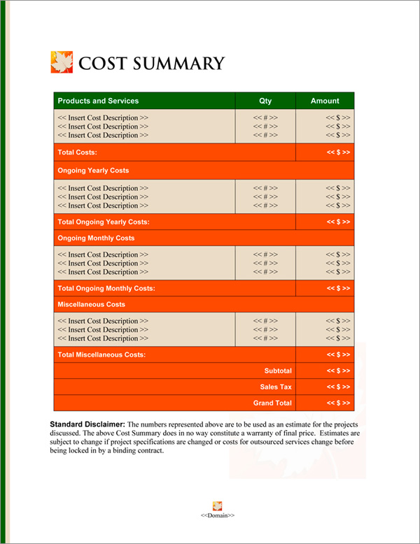 Proposal Pack Seasonal #4 Cost Summary Page