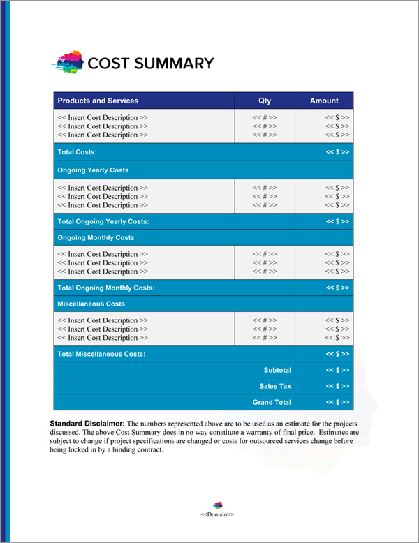 Proposal Pack Contemporary #21 Cost Summary Page