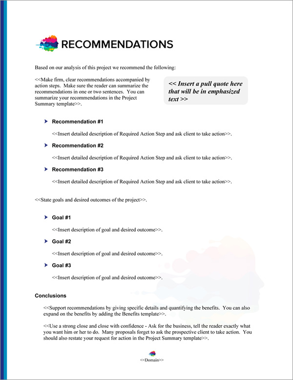 Proposal Pack Contemporary #21 Recommendations Page