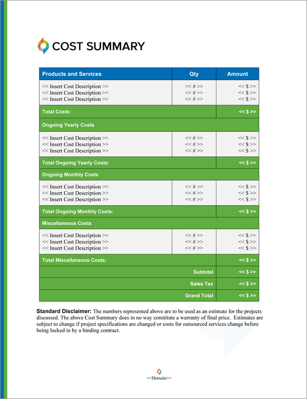 Proposal Pack In Motion #7 Cost Summary Page
