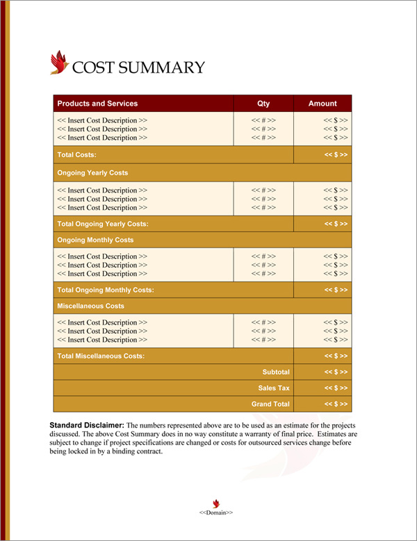 Proposal Pack Spiritual #4 Cost Summary Page