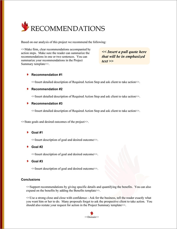 Proposal Pack Spiritual #4 Recommendations Page