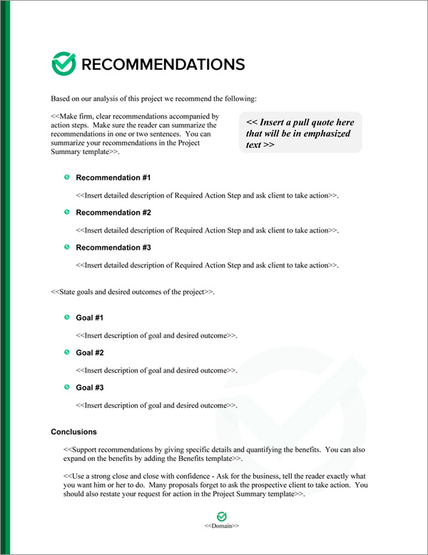 Proposal Pack Symbols #8 Recommendations Page