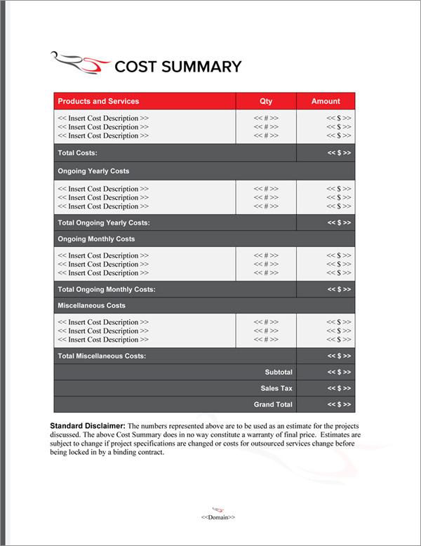 Proposal Pack Aerospace #5 Cost Summary Page