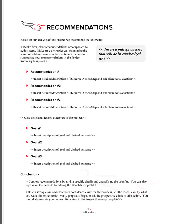 Proposal Pack Aerospace #5 Recommendations Page