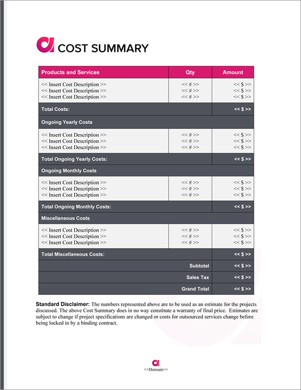 Proposal Pack Symbols #9 Cost Summary Page