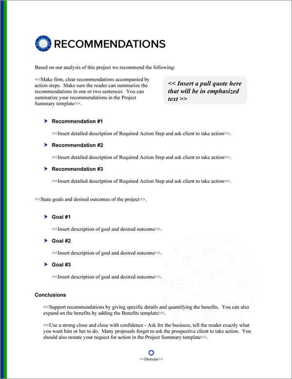 Proposal Pack Wireless #5 Recommendations Page