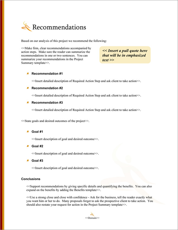 Proposal Pack Entertainment #9 Recommendations Page
