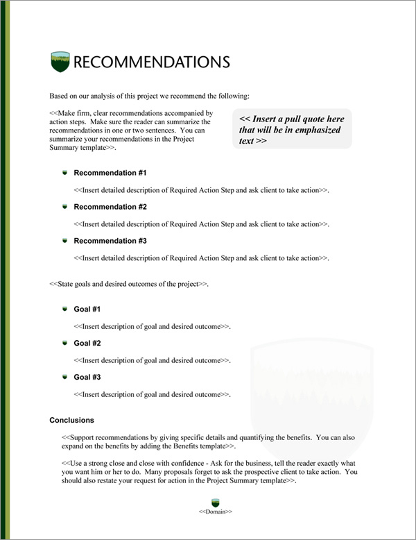 Proposal Pack Nature #9 Recommendations Page