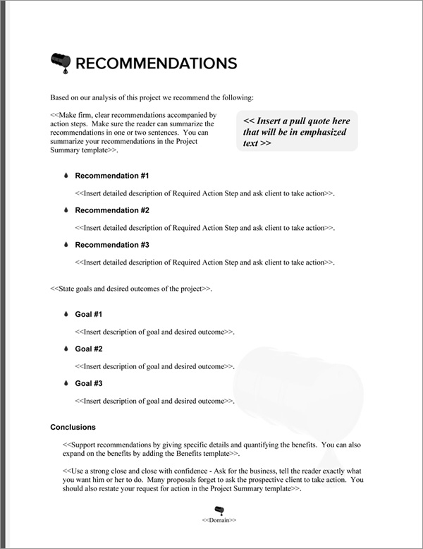Proposal Pack Environmental #6 Recommendations Page