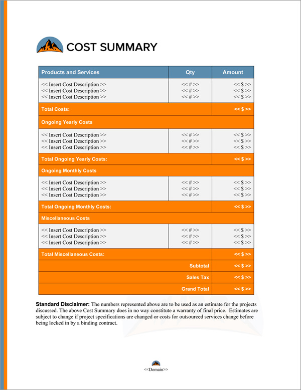 Proposal Pack Outdoors #6 Cost Summary Page