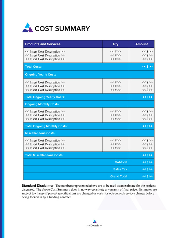 Proposal Pack Symbols #11 Cost Summary Page