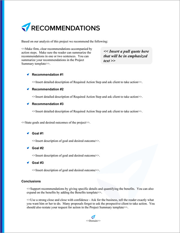 Proposal Pack Travel #5 Recommendations Page