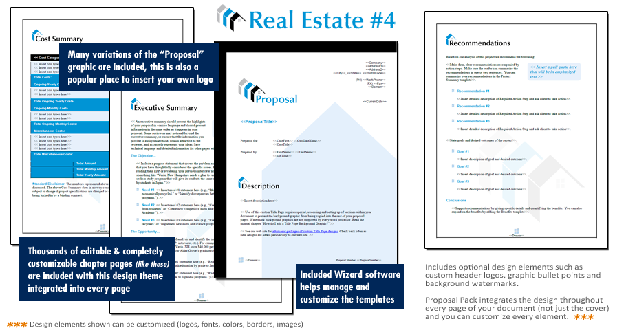 Proposal Pack Real Estate 4 Downloadable Proposal Software – Real Estate Proposal Template