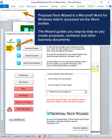 Proposal Pack Wizard - Home Screen