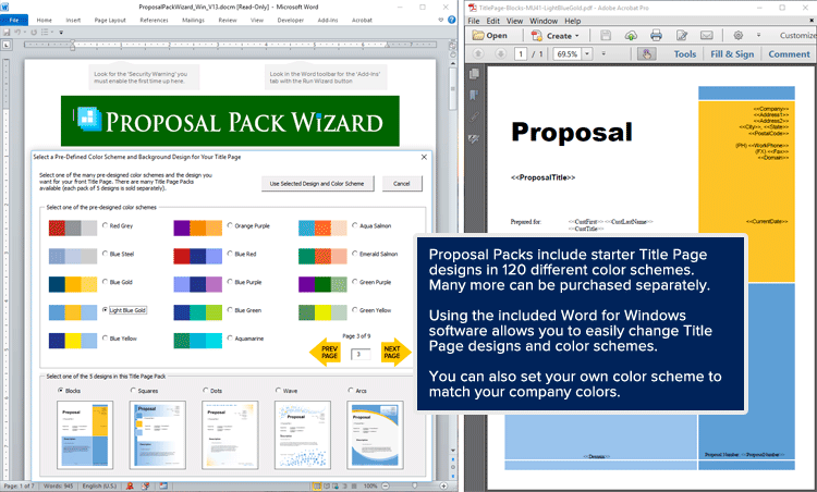 Proposal Pack Wizard - Title Page Designs