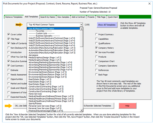 Proposal Pack Wizard Software 13.1 Screen shot
